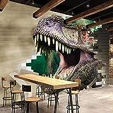 Foto Wallpaper 3D Stereo Dinosaurier Ziegel Wandbilder Kinderzimmer Restaurant Kreativer Hintergrund Wandmalerei Tapeten,430(W)*300(H)Cm