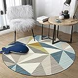 WJW-DT Gelb Grau Blau Beige Runder Teppich Teppiche für Wohnzimmer Schlafzimmer Flure Geometrischer Stil Durchmesser 80 100 120 140 160 180 200cm-120