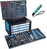 Werkzeugwagen Werkzeugkiste von DeTec. mit Werkzeug   Werkstattwagen Aufsatz in blau