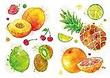 dekodino® Wandtattoo Küche Set Aquarell Obst Pfirsich Orange Ananas Wandstick