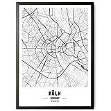 kizibi JUNOMI® Köln Poster XL Schwarz Weiss, DIN A2 Wohnzimmer Deko, Modernes Wandbild, Köln Bild, Wandbild ohne Rahmen, Souvenir Köln, Karneval, perfekte Geschenkidee für Kölner