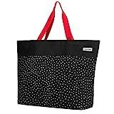 anndora XXL Shopper schwarz weiß gepunktet - Strandtasche 40 Liter Schultertasche Einkaufstasche