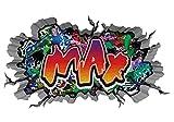 3D Wandtattoo Graffiti Wand Aufkleber Name MAX Wanddurchbruch sticker Boy selbstklebend Wandsticker Jungenddeko Kinderzimmer 11MD734, Wandbild Größe F:ca. 97cmx57cm