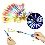 Herefun Hubschrauber Fliegen Spielzeug,15 Stücke Licht Hubschrauber Fliegen LED Katapult Heli Abschießer Elastic Powered Sling Shot - Mehrere Stile