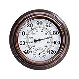 DOMIRE Wandthermometer Hygrometer Indoor Outdoor Rund Wählscheibe Feuchtigkeitszähler Temperaturanzeige.