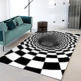 SunYe 3D Visuelle Geometrie Abstrakte Wohnzimmer Teppich Verdickt Doppelschicht Büro Fußmatten Maschinenwaschbaren Haustier Teppich, rutschfeste Fußmatte, Schlafzimmer N