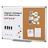 Swansea Whiteboard Magnettafel und Pinnwand Kork mit Aluminiumrahmen für Wohnung, Büro, Küche und Schule, 60X45