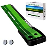 MSOAT Golf Putting Matte(Kostenlose 2 Übungsgolfbälle), Golf Übungsmatte mit Auto Ball Return-Funktion, Golf Putting Green Mat, geeignet für Indoor Puttingmatten