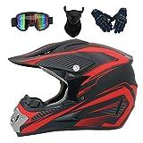 Yilingqi-1 Erwachsene Jugend Downhill Helm Geschenke Goggles Maske Handschuhe BMX MTB ATV Bike Race Full Face Integral Helm,Rot,L