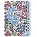 olyee 2021 Planer, A5, Wochenansicht, Wochenplaner mit monatlichen Reitern, schönes Hardcover, täglicher, wöchentlicher und monatlicher Planer, Jahresplaner (Blumen)