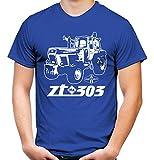 Traktor ZT Männer und Herren T-Shirt   303 Oldtimer DDR Landwirt Bauer   M2 (L, Blau)
