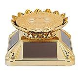 DAUERHAFT Drehbarer Schmuckständer für Plattenspieler, 80 x 80 x 48 mm Halskette Tablett Solarbetriebener Goldhalter mit dreiseitigen Sonnenkollektoren, für Werbedisplay