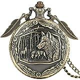 ZMKW Retro 3D Skulptur Wild Wolf Bronze Quarz Taschenuhr Kette Anhänger Wölfe Halskette Uhr mit Blatt Zubehör, Standard