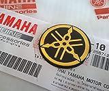 Yamaha Aufkleber Yamaha-Stimmgabel 25mm Durchmesser Emblem Logo Gold/Schwarz erhöht Kuppelförmig Gel Selbstklebend Motorrad/Jet Ski/ATV/Schneemobil