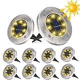 10 Stück Solar Bodenleuchten Aussen, DUTISON Solarleuchten Garten mit 8 LEDs für Außen, 6000K Warmweiß IP65 Wasserdicht Led Solar Gartenleuchten, Solarlampen für Rasen Auffahrt Gehweg Patio G