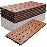 Moebeliev WPC Holz Kunststoff Fliesen,30x60cm,6 Stück,braun,Terrassenfliesen Klickfliesen Balkonfliesen Wasserdicht,korrosionsbeständig