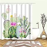 XCBN Tropischer Regenwald Grüne Pflanzen Kaktus Ananas Duschvorhänge Stoff Wasserdicht Mit Haken Badvorhang A14 180x200cm