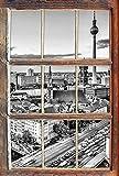 UYEDSR Wandsticker Monocrome Skyline von Berlin Fenster im 3D Look Wand oder Türaufkleber Wandsticker Wandtattoo Wanddekoration 92x62cm