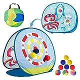 SAILFISH Sitzsackwurfspielzeug für Kleinkinder 3 4 5, doppelseitige Dartscheibe mit Hai-Thema, 6 Sitzsäcken und 3 Ocean Balls, zusammenklappbare Spiele im Freien