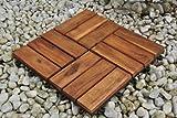 Einzelfliese 02, Terrassenfliese aus Akazien-Holz, Holz-Fliese mit 12 Latten für Garten Terrasse Balkon, Balkon Bodenbelag mit Drainage-Unterkonstruktion für problemfreien Wasserablauf unter den F