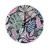 Tropisch Blätter Wanduhr aus Holz Cool Küchenuhr Wanduhren Kinderuhr für Büro Wohnzimmer Schlafzimmer Kinderzimmer Küche ohne Tickgeräusche White 30x30cm