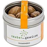 Zauber der Gewürze Muskatnüsse - ganze Muskatnuss für Käsegerichte, Gebäck, Punsch, Premium-Qualität in wiederverschließbarer Aroma-Dose, 10 Stück