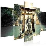 decomonkey Bilder Buddha 200x100 cm 5 Teilig Leinwandbilder Bild auf Leinwand Wandbild Kunstdruck Wanddeko Wand Wohnzimmer Wanddekoration Deko Zen Orient Wasserfall