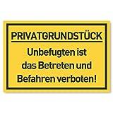 Privatgrundstück Schilder (30x20 cm Kunststoff) - Betreten und Befahren verboten Schild - Privatweg - Zutritt verboten - Durchgang Privat - (Gelb) Betreten Verb