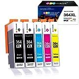 GPC Image Kompatible Tintenpatrone als Ersatz für HP 364XL für Deskject 3520 3070A, Photosmart 5510 5520 5524 6510 6520 b110a b109a, Officejet 4620 4622(Schwarz Cyan Gelb Magenta, 5er-Pack)