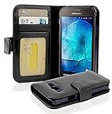 Cadorabo Hülle für Samsung Galaxy Xcover 3 in Oxid SCHWARZ – Handyhülle mit Magnetverschluss und 3 Kartenfächern – Case Cover Schutzhülle Etui Tasche Book Klapp Style