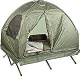 Semptec Urban Survival Technology Zelt: 4in1-Doppelzelt mit Feldbett, 2 Sommer-Schlafsäcken und Matratze (Feldbett Zelt)
