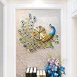 Kunst Wanduhr/Silent Quarzuhr, Hause Strass Pfau dekorative Uhr, geeignet für Wohnzimmer, Esszimmer (70 × 65cm)