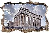 3D-Effekt Wandtattoo Aufkleber Durchbruch selbstklebendes Wandbild Wandsticker Stein Wanddurchbruch Wandaufkleber Tattoo,Antiker Tempel in Griechenland,Größe:80x125