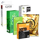 Der Kondomotheke® Vegan Pack, 6 Sorten vegane Kondome für Genuss ohne Tierleid - Kondome ohne Kasein, 45 Kondome