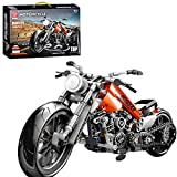 MBKE Technik Bausteine Motorrad Modell, 436pcs Straßenmotorrad für Harley Davidson Fatboy, Bausteine Konstruktionsspielzeug Kompatibel mit Lego Technic