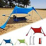 INSTRUMENT-AED Strandmuschel Sonnenschutz Zelt für Strand mit Vorzeltteppich und Sandsack Anker, Strandzelt mit UV-Schutz UPF 50+ Sun Shade Shelter, Sonnensegel Camping Plane