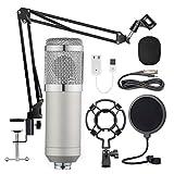 Jaimenalin BM-800 HHNge Mikrofon Kit, Live Broadcast Aufzeichnung GrooMembran Kondensator Mikrofon Set (Silber)