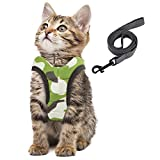 Simpeak Katzengeschirr, Katzengeschirr mit Leine Ausbruchsicher, Geschirr für Katzen Welpengeschirr Weich, Klein, Tarngrü