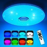 Koicaxy LED Deckenleuchte Dimmbar mit Bluetooth Lautsprecher, 38CM Led Deckenlampe Farbwechsel RGB mit Fernbedienung und APP-Steuerung 3000-6000K Rund für Wohnzimmer, Schlafzimmer, Kinderzimmer