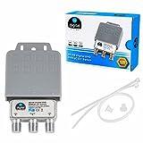 1x DiseqC Schalter SE Switch 2/1 mit Wetterschutzgehäuse HB-DIGITAL 2X SAT LNB 1 x Teilnehmer / Receiver für Full HDTV 3D 4K UHD