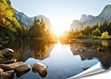 "PMP 4life. XXL Poster ""Yosemite""   140x100cm   hochauflösendes Wand-Bild, Natur Poster extra groß, XL Fotoposter   Wand-deko Bild Fluss Berge USA"