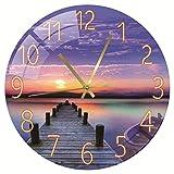 SWECOMZE Modern Wanduhr ohne tickgeräusche Funkuhr - Große Lautlos Wand Uhr 30 cm Ø für Wohnzimmer, Küche, Büro (B)