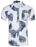 Loveternal Hawaiihemd Herren 3D Druck Cooler Blätter Grafik Kurzarm Hawaii Shirt Freizeit Bunte Hemden Weiß M