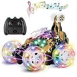 UTTORA Ferngesteuertes Auto Spielzeug,Dual Modi 360° Drehbarer Stunt Rennwagen LED-Lichter, USB-Kabel,Ein Schlüsselschalter Musik Auto Geschenk für Jungen Mädchen