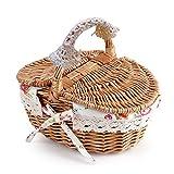 NCONCO Picknickkorb, oval, doppelter Deckel, Korbgeflecht, Leinen, Blumenmuster, Picknickkorb, Urlaub, Camping, Heimdek