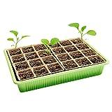 Y56 Zimmergewächshaus Anzuchtkasten,Mini Gewächshaus Anzucht Set, Gartengeräte,24 Löchern, Ideal für Sämling Pflanze Aufzucht, 27x20x12cm