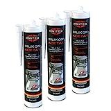 Silikon Sanitär 3 x 300 ml | Weiß | Acetat für Bad Dusche und WC | schimmelresistent | zum Abdichten und Verfugen