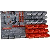DURHAND Wandregal mit Stapelboxen 44 TLG Werkzeuglochwand Werkzeughalter Werkzeugwand für Werkstatt Sichtlagerkästen Hakenset PP Rot+Grau 63,5x22,5x95,5 cm