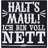 HALT'S Maul Aufnäher Schimpfwort Aufbügler Heavy Metal Patch Trash Metal Bügelbilder Rocker Sticker Geschenk für Metal-Fans DIY Applikation für Jacke/Weste/Jeans/Kutte 77x80mm