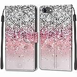 Nadoli Handyhülle für iPhone SE 2020,Bunt Bemalt [Silber Glitzer] Lanyard PU Leder Standfunktion Magnetverschluss Brieftasche Hülle Schutzhülle Etui